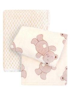 Tadpoles Brown Bear Plush Stroller Blanket - Set of Two