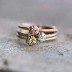 Rose Yellow White Gold Diamond Stacking Rings