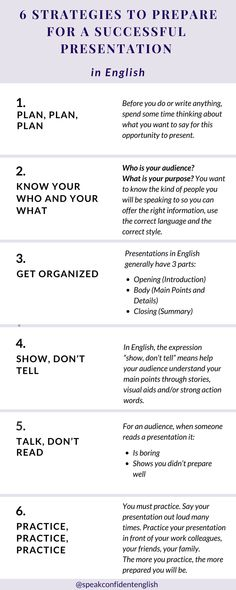 Professional English. Some easy to follow steps on how to prepare for a presentation in English. Get the full lesson + a checklist to download at https://www.speakconfidentenglish.com/prepare-presentations/?utm_campaign=coschedule&utm_source=pinterest&utm_medium=Speak%20Confident%20English%20%7C%20English%20Fluency%20Trainer