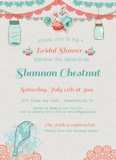 Items similar to Vintage Mason Jar Bridal Shower Invitation - Roses - Doily - Lace - Burlap Rustic Bridal Shower - Wedding Shower on Etsy Lace Wedding Decorations, Rustic Wedding Colors, Rustic Weddings, Our Wedding, Dream Wedding, Wedding Ideas, Bridal Shower Invitations, Invites, Bridal Shower Rustic