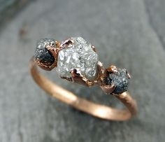 Raw Diamond Engagement Ring Rough Uncut 14k rose by byAngeline, $1195.00