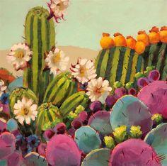 """Daily Paintworks - """"Cactus Blooms"""" - Original Fine Art for Sale - © Krista Eaton Cactus Painting, Cactus Art, Garden Painting, Acrilic Paintings, Flower Paintings, Southwest Art, Hippie Art, Arte Floral, Mexican Folk Art"""