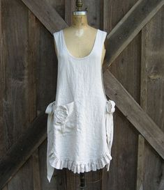 linen jumper pinafore apron dress tunic smock in sand. $139.00 ...