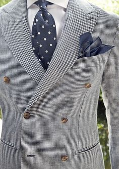 Great summer look featuring double breasted jacket, linen polka dot bow tie, and navy linen pocket square