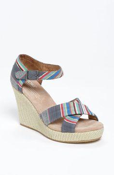 1c02c2cf94f5cd TOMS Denim Stripe Wedge Sandal available at  Nordstrom Striped Sandals
