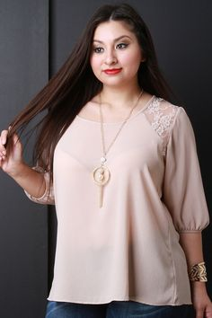 Lace Trim Three Quarter Sleeves Necklace Blouse