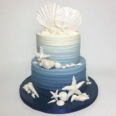 Deliciousarts Seashells Ombre Blue Ocean Sanddollar Starfish Cake Birthday Birthdaycake Losangeles Bakery
