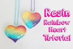 Tutorial de resina: Corazon de arcoiris - Resin tutorial: Rainbow heart ...