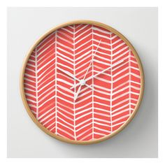 Coral Herringbone Wall Clock (39 AUD) ❤ liked on Polyvore featuring home, home decor, clocks, wall clocks, battery operated wall clock, battery wall clocks, coral home accessories, battery powered wall clock and cat home decor