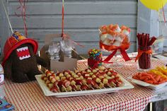 fruit kabobs but use ascending colors to look like fire, same with veggie tray. also, like the marshmallows.