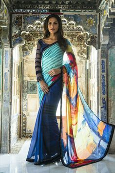 Fashionable ink #blue and #black georgette printed #saree -SR12607