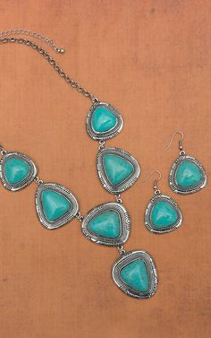 Silver & Turquoise Stone Necklace & Earring Set