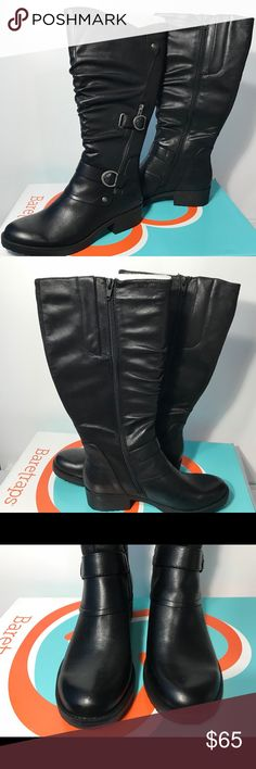 Baretrap Ozzie Wide Calf Boots The Baretraps Ozzie is a great pair of boots that will complement any wardrobe. Stylish details like decorative ornaments and a ruched front make these go-to boots this season. Walk in comfort all day long with a soft foam insole and inner zipper for easy adjustments. Style: OZZIE2. Specifications  Heel Height1.5 inches Shaft Height14 inches OriginImported MaterialMicrofiber, Elastic Baretraps Shoes Over the Knee Boots