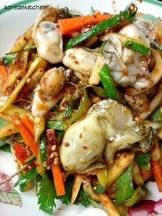 Korean Kitchen: 굴무침 Gulmuchim (Spicy oyster salad)~^^