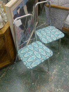 25 code Reupholstered mid century chrome by retroreuseetsy on Etsy, $112.00