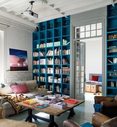 Book case wall in blue