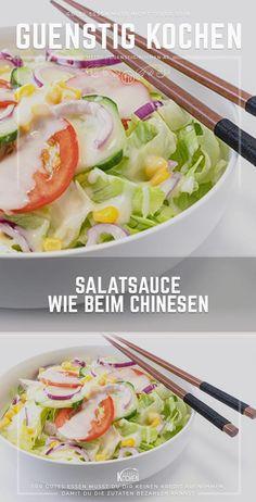 Die Salatsauce / das Salatdressing wie beim Chinesen ist wahrscheinlich nach einem Joghurt- bzw. Knoblauchdressing die beliebteste Art seinen Salat noch mehr Pfiff zu verleihen. Dieses Rezept wird Dich begeistern. #food #recipes #rezepte #yummy #ideen Food Garnishes, Dips, Convenience Food, Salad Recipes, Potato Salad, Delish, Salads, Low Carb, Dressings