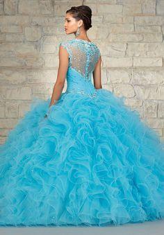 Aliexpress.com: Compre Designer Ruffle Organza frisada vestido de baile céu azul vestidos de casamento de confiança vestido crânio fornecedores em Tovin Bridals Fashion Online Co.,Ltd