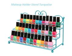 Store your bottles of nail polish & makeup in style with this amazing display rack! The lovely scrollwork design & classic painted finish on this sturdy metal storage rack helps bring both eye-catching style & sensible storage to your home or salon .... $54.99