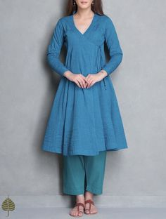 Buy Blue Angrakha Mangalgiri Kurta by Jaypore Online at Jaypore.com