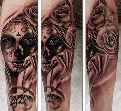 Catrina Chicano Tattoo Realism Girl Berlin Leonardo Art Ink Color Black Grey Forearm