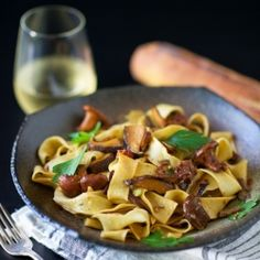 Fresh Tagliatelle with Sun-Dried Tomatoes and Four Mushrooms:  Easy, refined and tasty.