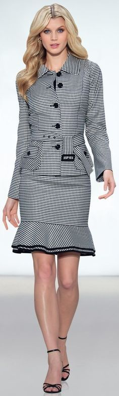 closet ideas women fashion outfit clothing style Houndstooth Skirt Suit and Black Ankle Strap High Heels: Office Fashion, Work Fashion, Fashion Moda, Womens Fashion, Carlisle Collection, Suits For Women, Clothes For Women, Professional Attire, Business Attire