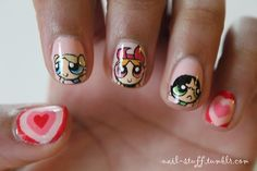 Power Puff Girls nails! For the background I used Peach Pearl by Revlon
