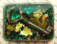 Green Glitter Key Resin Brooch  Handmade Recycled by wiggelhevin