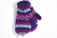 限量一件手織純羊毛針織手套 / 可拆卸手套 - 藍紫色世界