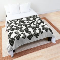Bed Comforter- Abstract Geometric Black and White Pattern Print, RedBubble Print on Demand Pattern Print, Print Patterns, White Patterns, Comforters, Blanket, Black And White, Studio, Abstract, Bed