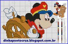 Olá meninas e meninos uma nova versão do marujo Mickey para seus bordados: