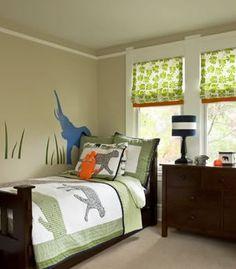 Suzie: Sally Steponkus Interiors - Adorable green & tan boy's bedroom design with beige walls ...