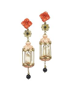 Aviary Carved Bone Drop Earrings, Coral/Pink by Of Rare Origin at Neiman Marcus.