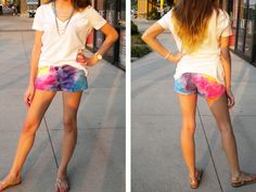 DIY tie dye shorts! YAS! When I worked at Kohls they sold the most awesome, super bright tie dye shorts ...for little girls D: I neeeed dis.
