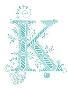 Hand drawn monogrammed print, 8x10, the Letter K, in the color blue