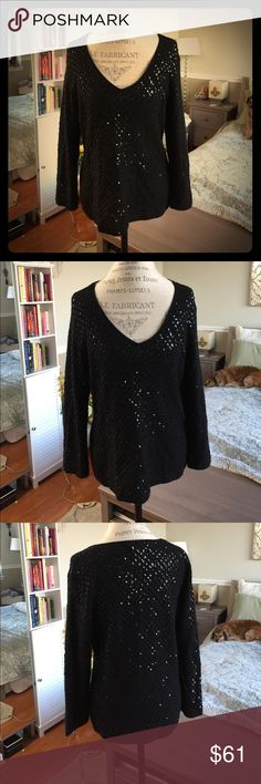 Sequin Sweater Beautiful cashmere sweater embellished with sequin all throughout the front and back. Great condition. @A I. Magnin Sweaters
