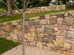 Hudson Highland Cottage | Nelson Byrd Woltz Landscape Elements, Landscape Design Plans, Landscape Walls, Landscape Architecture, Gabion Wall, Hillside Garden, Tiered Garden, Stone Fence, Dry Stone