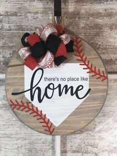 There's No Place Like Home Baseball Farmhouse Round Wooden Sign / Door Hanging Wooden Door Signs, Front Door Signs, Wooden Door Hangers, Front Door Decor, Letter Door Hangers, Cross Door Hangers, Fall Door Hangers, Porch Signs, Christmas Wood