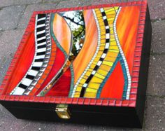 Mosaic Art - Decorative Stained Glass Mosaic Box, Handmade, Medium Size in Red, Yellow, Orange, Black and White with Mirror