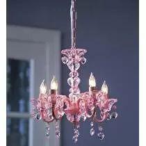 Candil 5 Luces Rosa Y Cristal Con Corazónes Importado
