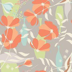 En güzel dekorasyon paylaşımları için Kadinika.com #kadinika #dekorasyon #decoration #woman #women Vector seamless pattern with floral elements spring flowers poppies and vases