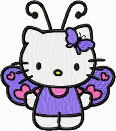 Hello Kitty Butterfly costume machine embroidery design for made Hello Kitty gifts> hello Kitty Butterfly embroidery design for al type embroidery machines with any embroidery formats. Butterfly Embroidery, Folk Embroidery, Towel Embroidery, Simple Embroidery, Bernina Embroidery Machine, Machine Embroidery Designs, Hello Kitty Drawing, Hello Kitty Imagenes, Hello Kitty Tattoos