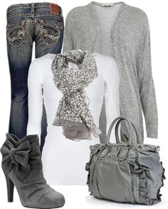 Gray Sparkle Sweater & Sequins Scarf. White Top. Blue Jeans. Gray Ruffle Purse. Gray boots with Heel & Bow.