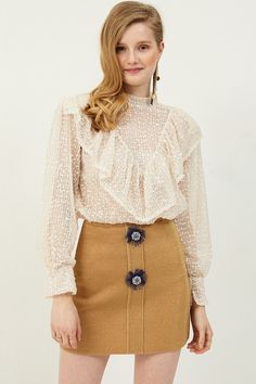 Silvia Mesh Ruffle Blouse Discover the latest fashion trends online at storets.com