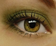 Olive green and gold eye makeup