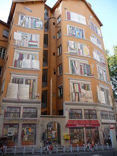 Lyon France Fresque la Bibliotheque de la Cite
