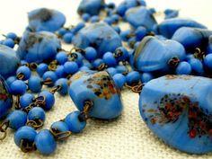"Venetian Millefiori Mosaic Art Glass Bead Blue Flapper 50"" Long Necklace Vintage | eBay"