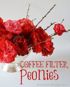 Coffee Filter Peonies by Farmhouse38.com
