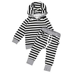 AMATM Toddler Baby Boy Girl Stripe Hooded Tshirt Tops Pants Outfits Clothes Set 24M Black >>> Read more reviews of the product by visiting the link on the image.Note:It is affiliate link to Amazon.